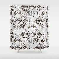 snow leopard Shower Curtains featuring Snow Leopard by lillianhibiscus