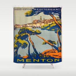 Vintage poster - Menton Shower Curtain