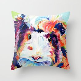 Abyssinian Guinea Pig in Color Throw Pillow
