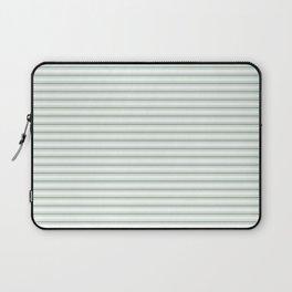 Mattress Ticking Narrow Horizontal Striped Pattern in Moss Green and White Laptop Sleeve