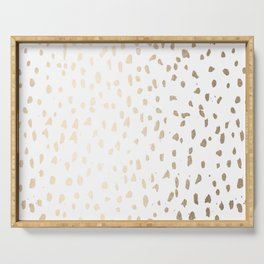 Luxe Gold Painted Polka Dot on White Serving Tray