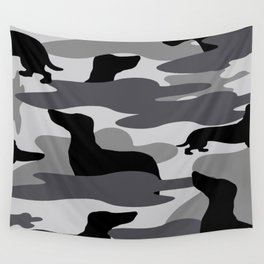 Grey Camo Weiner Dogg Wall Tapestry