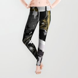 Classic New Orleans Black & white vintage collage Leggings