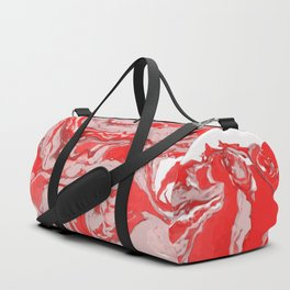 Red and white Marble texture acrylic Liquid paint art Duffle Bag