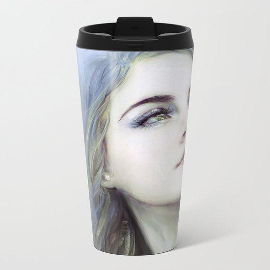 Self - Painterly girl portrait Metal Travel Mug