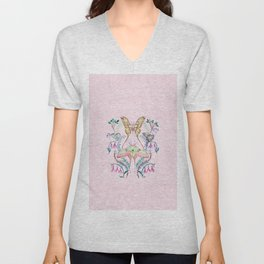 Chinese Moon Moth and Butterflies Unisex V-Neck