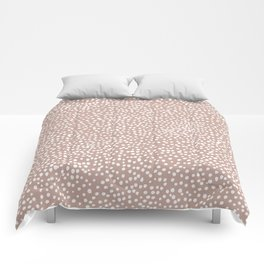 Little wild cheetah spots animal print neutral home trend warm dusty rose coral Comforters