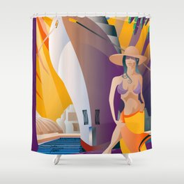 Boat Show Girl Shower Curtain