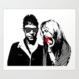 the Kills - Black and White with red Apple Art Print