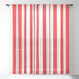Red and White Stripes | Medium Vertical Stripes | Sheer Curtain