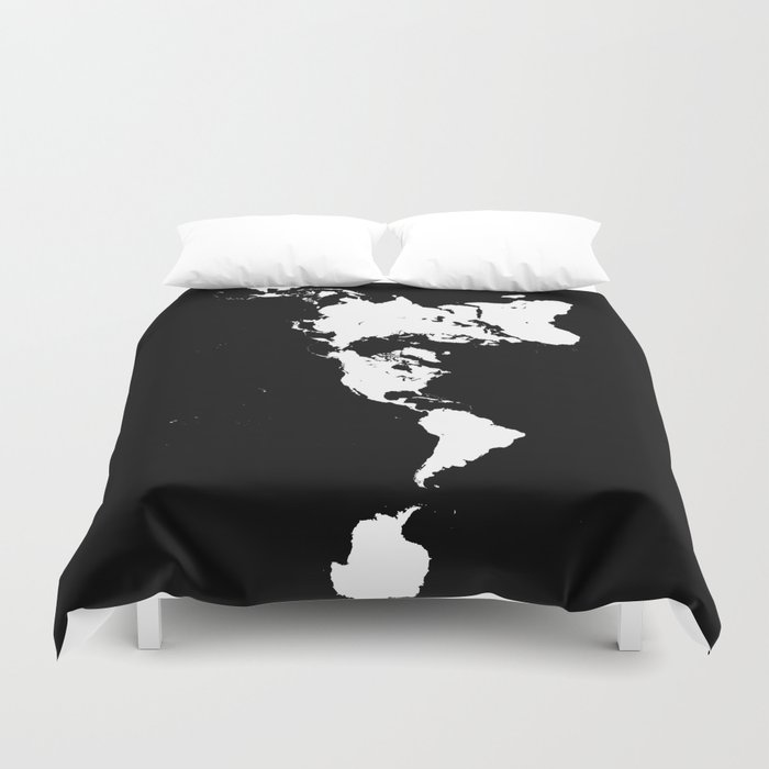 Dymaxion world map fuller projection map minimalist white on dymaxion world map fuller projection map minimalist white on black duvet cover gumiabroncs Images