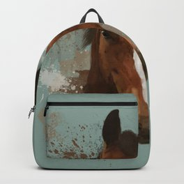 Brown and White Horse Watercolor Light Backpack