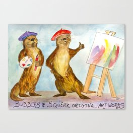 Bubbles and Squeak Otters do art Canvas Print