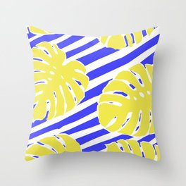 Monstera Leaf - Matisse Inspired Tropical Collage Pattern Throw Pillow