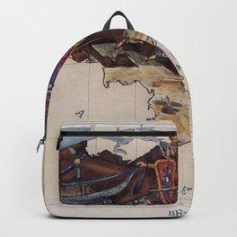 Old Belgium Illustrative Map (1912) Vintage Bayard Horse Saves the Sons of Aymon Illustration Backpack