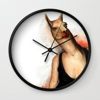 lama Wall Clocks featuring lama by Andrei Moldovan