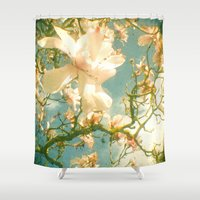 magnolia Shower Curtains featuring Magnolia by Cassia Beck