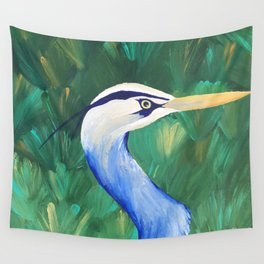 Heron in the Grass Wall Tapestry