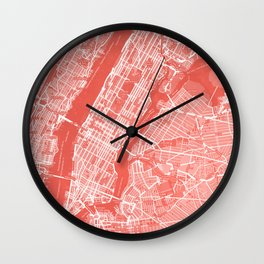 Living Coral Blush Pink Mantel Decor showing Manhattan New York City. Minimalist Layered Artwork Wall Clock