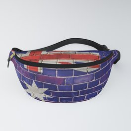Australia flag on a brick wall Fanny Pack