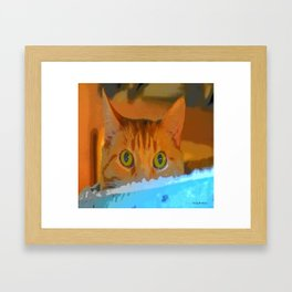 Sir Watson Tabby Digital Cat Framed Art Print