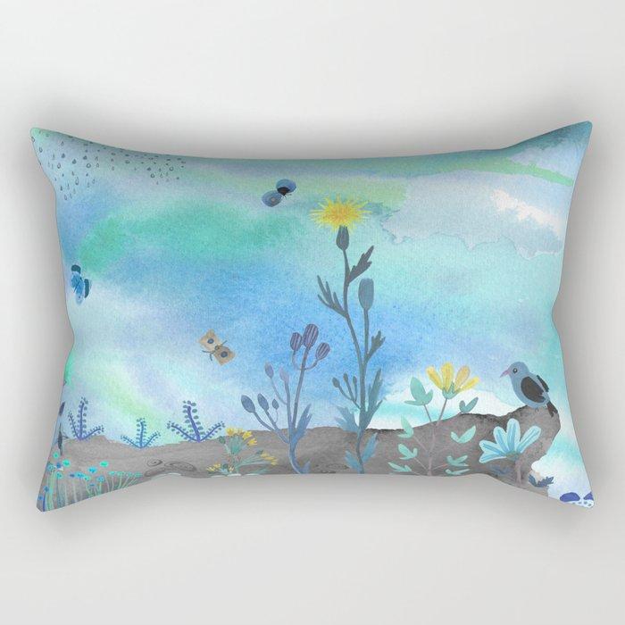 Blue Garden I Rectangular Pillow