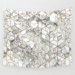 White marble geomeric pattern in gold frame Wall Tapestry