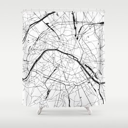 Paris Minimal Map Shower Curtain