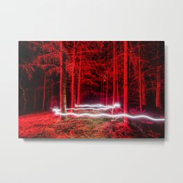 Red Trees in the Suburbs of Portland Metal Print