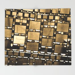 Sepia Abstract Geometric Shapes Decorative Mirror Print Throw Blanket