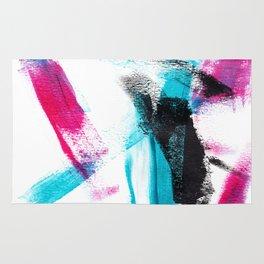 Modern hand painted pink turquoise black brushstrokes acrylic paint Rug