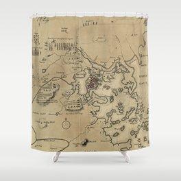 Vintage Boston Revolutionary War Map (1775) Shower Curtain