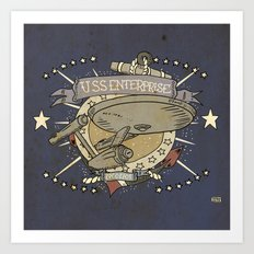 USS ENTERPRISE STAR TREK TATTOO PRINT Art Print