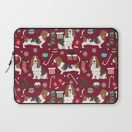 Basset Hound christmas pattern christmas dog breed pet friendly gifts Laptop Sleeve