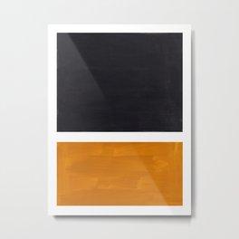 Black Yellow Ochre Rothko Minimalist Mid Century Abstract Color Field Squares Metal Print