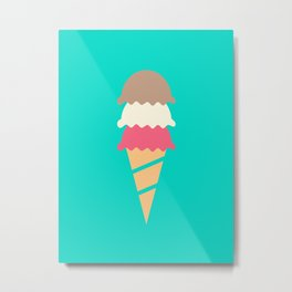 Neopolitan Three Scoop Ice Cream Cone Metal Print