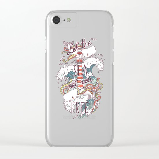 Whales and Waves Clear iPhone Case