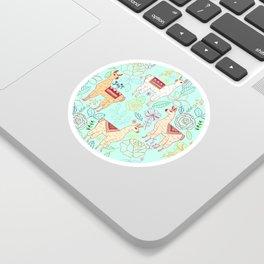 Mexican Llamas on Aqua Sticker