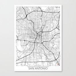 San Antonio Map White Canvas Print
