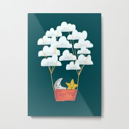 Hot cloud baloon - moon and star Metal Print
