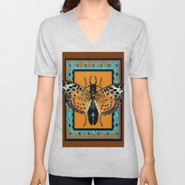 WESTERN COFFEE BROWN-TURQUOISE  BUTTERFLY & BEETLES ART Unisex V-Neck