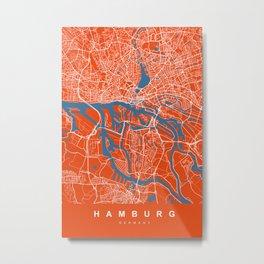 Hamburg Map | Germany | Tomato Color | More Colors Metal Print