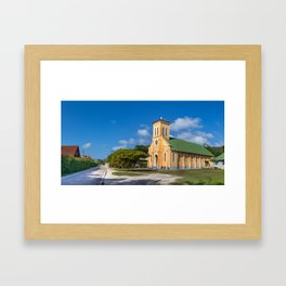 Panoramic view of the Notre Dame de L'Assomption church in La Digue, Seychelles. Framed Art Print