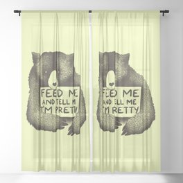 Feed Me And Tell Me I'm Pretty (Yellow) Sheer Curtain