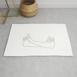 Folded arms line drawing illustration - Juno Rug
