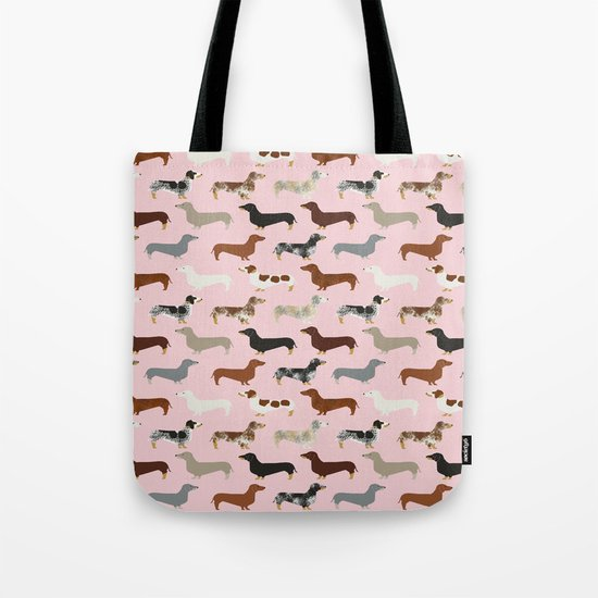 Dachshund doxie pet portrait hot dog weener dog breed funny small dogs puppy gifts for dachshund  Tote Bag