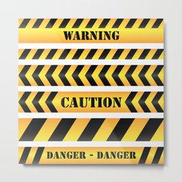 caution road sign warning cross danger yellow chevron line black Metal Print