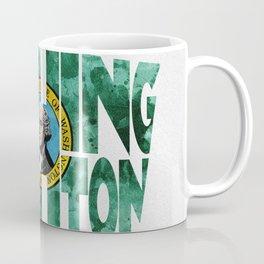 Washington Typographic Flag Map Art Coffee Mug