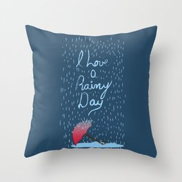 Love Rainy Days Throw Pillow
