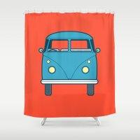 volkswagen Shower Curtains featuring #53 Volkswagen Type 2 Splitscreen Bus by Brownjames Prints